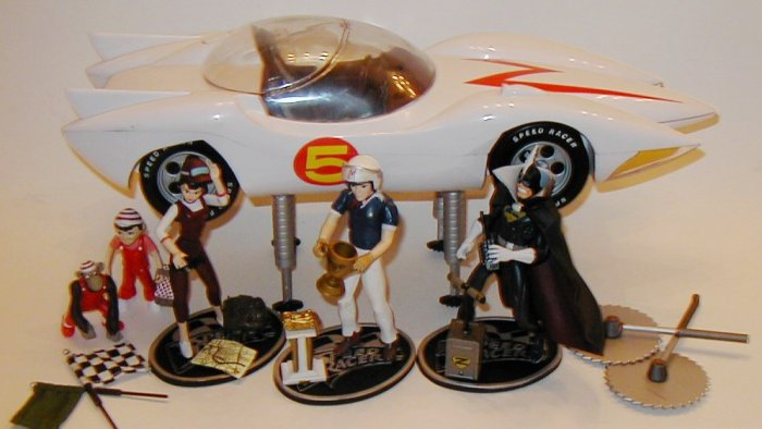 SOLD OUT Speed Racer Mach 5 Car and Figures Play set including Trixie Sprittle & Chim-Chim