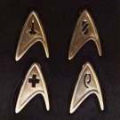Star Trek 2009 Movie Officers Badge Set All Metal Prop Replicas Set of 4 FREE SHIPPING