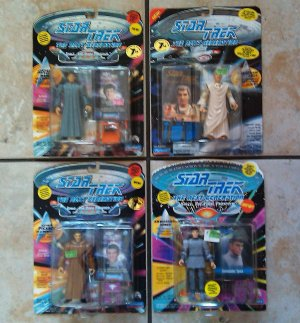 Star Trek Action Figure Lot of 4 Including Romulan Picard and Data, Ambassadors Spock and Sarek