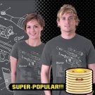 (XL) Han Solo Blaster Blueprint Star Wars Tee Shirt Adult Size X Large