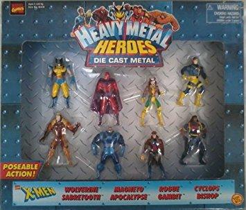 TOY BIZ MARVEL HEAVY METAL HEROES Die Cast Metal figure Gambit Rogue Magneto