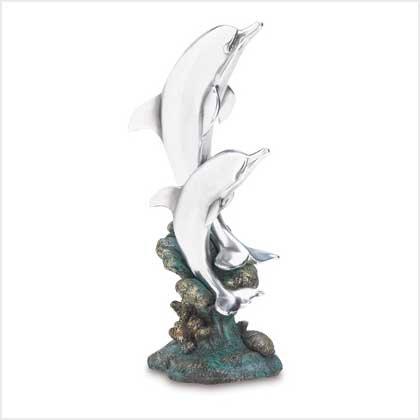 Silver Dolphin Statue