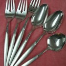 INTERNATIONAL 1847 ROGERS CORONADO 3 FORKS &3 SPOONS STAINLESS FLATWARE SILVERWARE