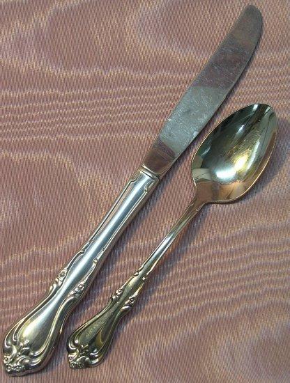 ONEIDA BRIARWOOD TEASPOON & PLACE KNIFE ALL AMERICAN W M DALTON STAINLESS FLATWARE SILVERWARE