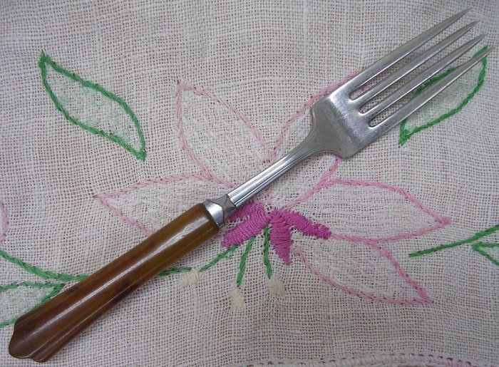 NATIONAL NS Co NST89 NST 89 PERMA-BRITE BROWN PLACE FORK STAINLESS FLATWARE SILVERWARE