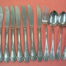 ROGERS Co ALEXIS FORK 8KNIVES &3 SPOONS STAINLESS FLATWARE SILVERWARE