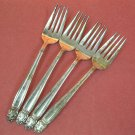 INTERNATIONAL HOLMES & EDWARDS DANISH PRINCESS 4 SALAD FORKS 1938 SILVERPLATE FLATWARE SILVERWARE