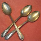 ONEIDA Wm A ROGERS MEADOWBROOK HEATHER 3 PLACE SPOONS FLATWARE SILVERWARE SILVERPLATE