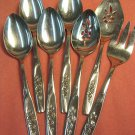 ONEIDA TWIN ROSE 7 SERVING SPOONS FORKS ONEIDAWARE STAINLESS FLATWARE SILVERWARE