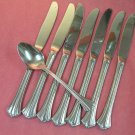 REED & BARTON JULIENNE TEASPOON &7 KNIVES STAINLESS FLATWARE SILVERWARE