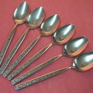 STANLEY ROBERTS CROWN EVENING LACE 6 PLACE SPOONS STAINLESS FLATWARE SILVERWARE