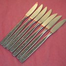 STANLEY ROBERTS CROWN EVENING LACE 7 PLACE KNIVES STAINLESS FLATWARE SILVERWARE