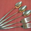 INTERNATIONAL AMERICAN FLAIR 2 SALAD FORKS &3 ICED TEA SOONS STAINLESS FLATWARE SILVERWARE