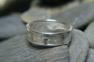 WALKING LIBERTY 90% SILVER DOUBLE SIDED COIN RING 7-13