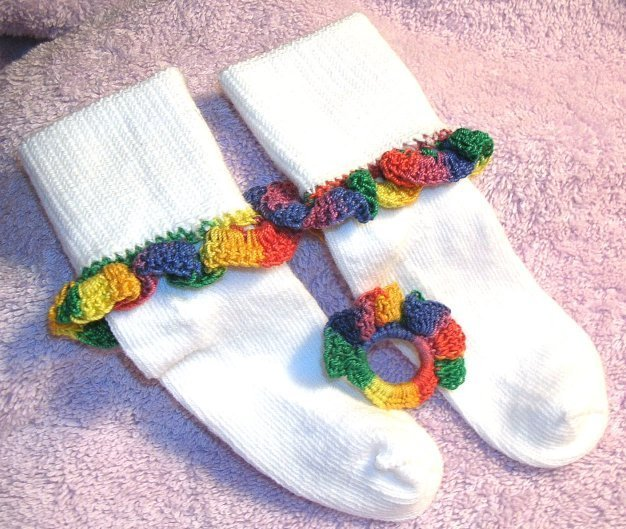Bright Variegated Ruffle Bauble Socks