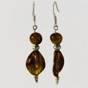 Tiger eye & amber earrings