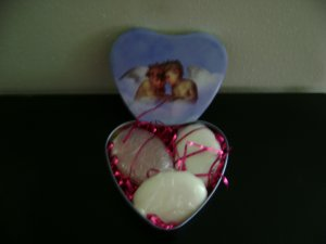 Angel Tin With 3 Full Sized Soaps Goats Milk, Mango Butter, Olive Oil, or Hemp Oil