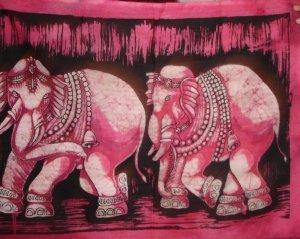 Elephants Batik Painting