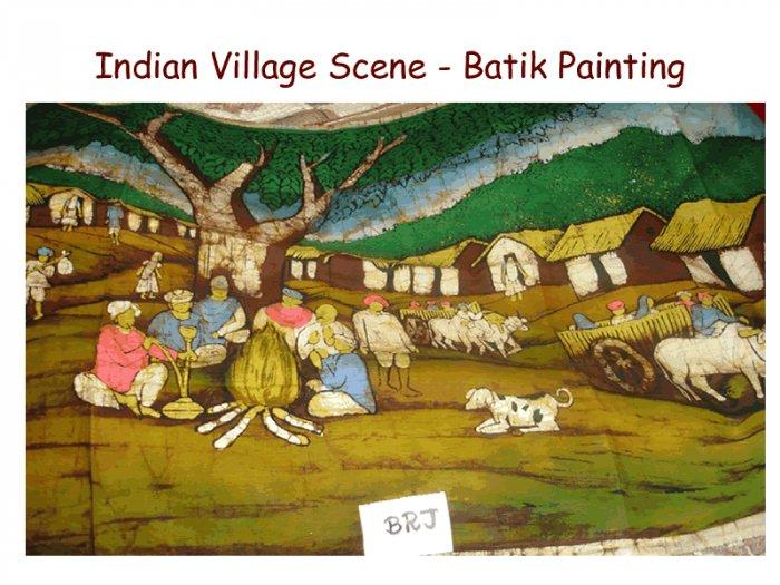 Indian Village Scene - Batik Painting