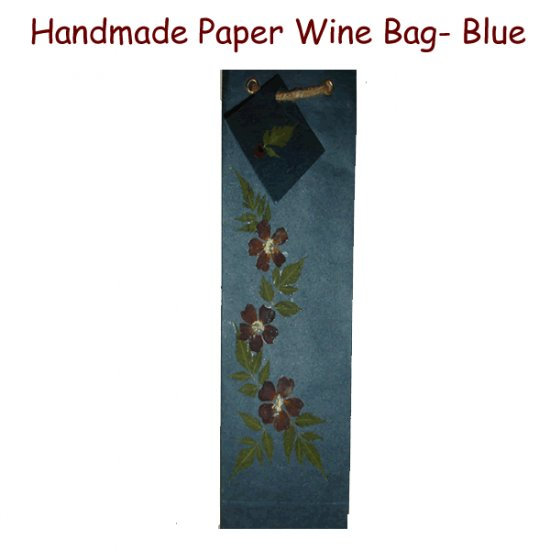 Handmade Paper Wine Bags - Blue