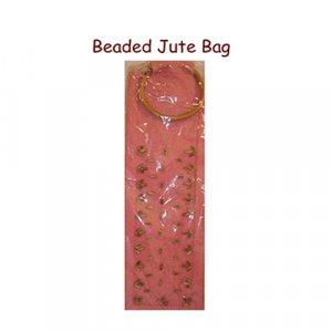 Beaded Wine Jute Bags - Pink