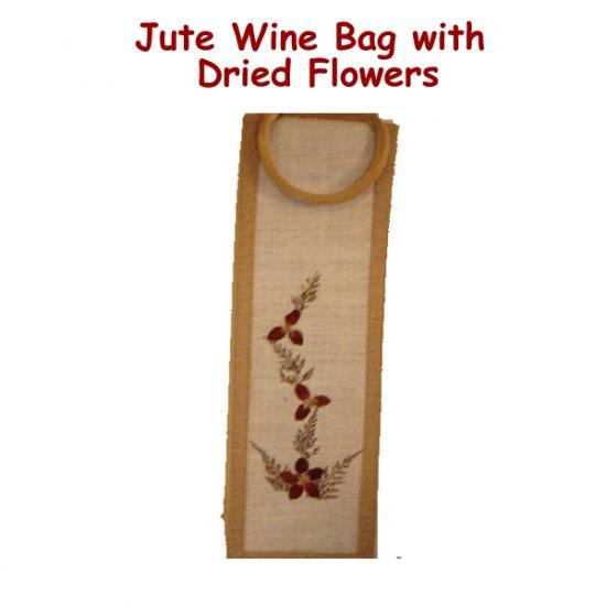 Jute Wine Bag - Dried Flowers