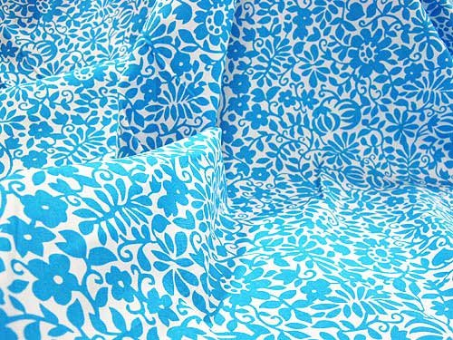 Turquoise Cotton Floral Lawn