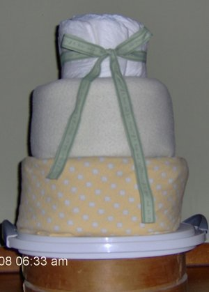 Yellow Diaper Cake With Teddy
