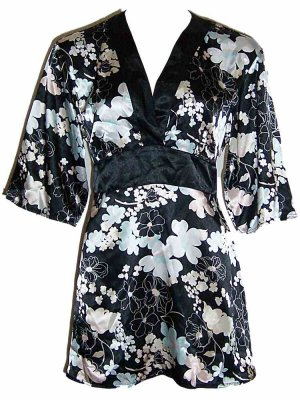 Flora Nikrooz Black Prints Short Robe Loungewear Medium
