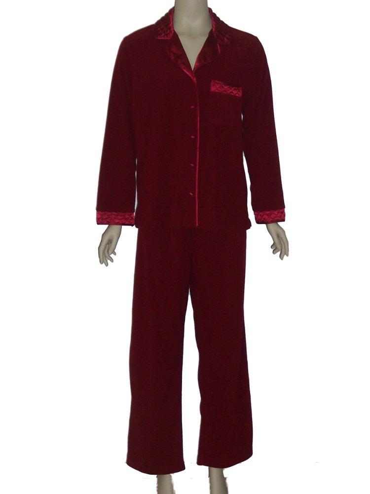 Jasmine Rose Crimson Velour Pajama Set 519006 Medium