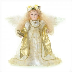 Porcelain Angel Doll with Harp New