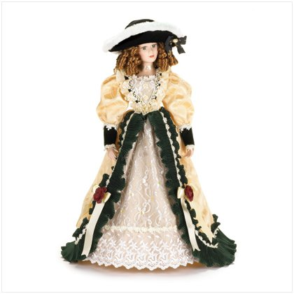 Porcelain Lady of the Manor Doll in Velvet and Ivory Dress New