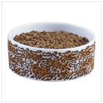 Leopard Print Ceramic Dog Bowl