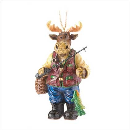 Moose with Fishing Pole Ornament