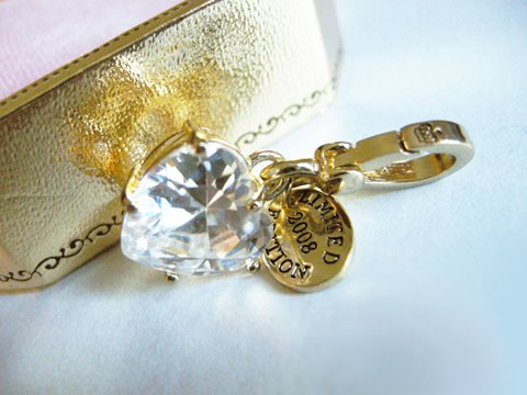 NIB Juicy Couture 14K Gold-Plated Crystal Heart Charm