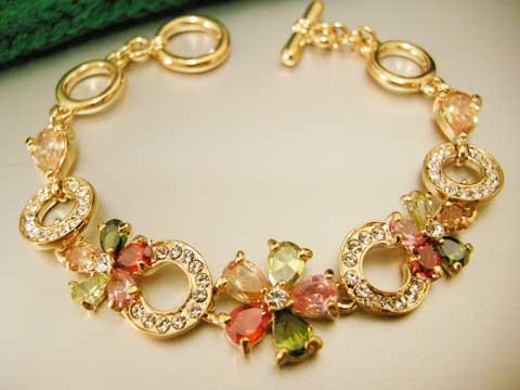BVL Bvlgari Colourful Flowers Bracelet set in Swarovsky crystals