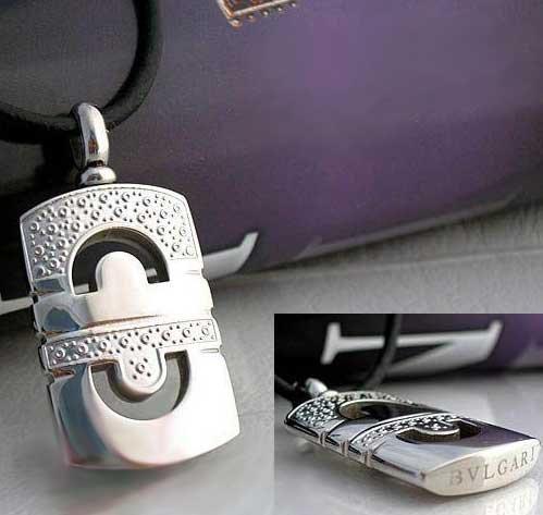 BVL Bvlgari Titanium Steel Leather Necklace w Stylish Pendant