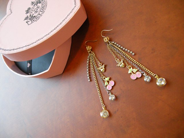 New-In-Box Juicy Couture Bi-Colour-Tone Drop Earrings