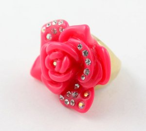 Juicy Couture Resin Rose Adjustable Ring, Pink