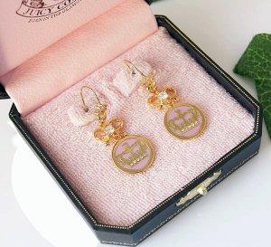 Juicy Couture Pink Crown & Bow Drop Earrings