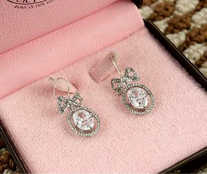 Juicy Couture Pave Ribbon Rhinestone Drop Earrings