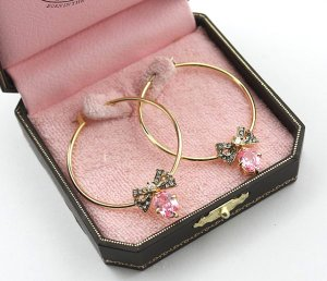 Juicy Couture Pave Bow Pink Crystal Drop Hoops