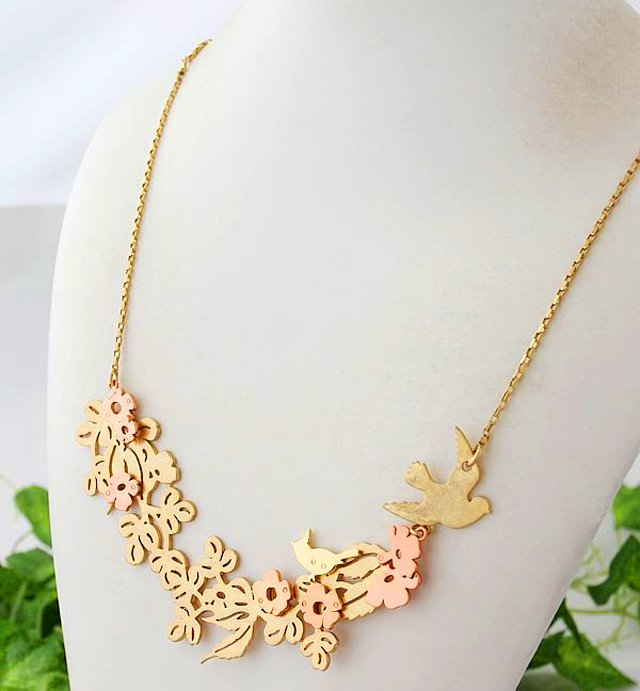 Juicy Couture Modern Nostalgia Cutout Flower & Bird Necklace