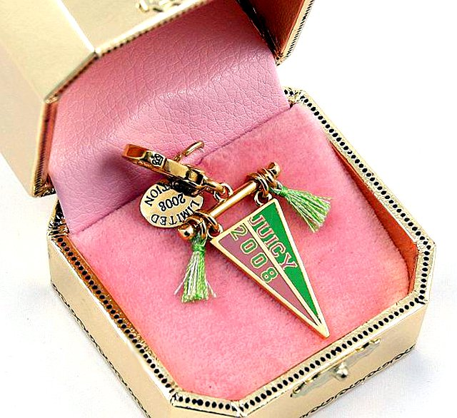 Juicy Couture 2008 Limited Edition Pink & Green Pennant Charm