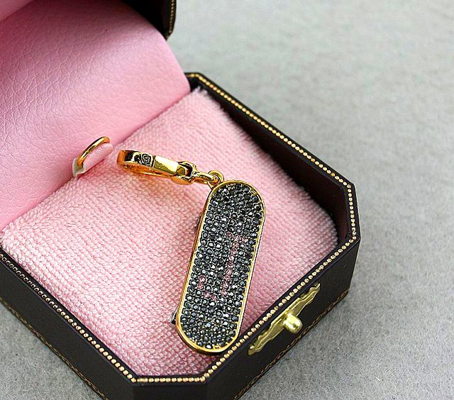 Juicy Couture Gold Pave Skateboard Charm