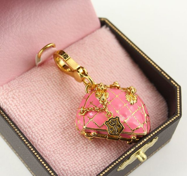 Juicy Couture Pink Quilted Bowler Bag Charm