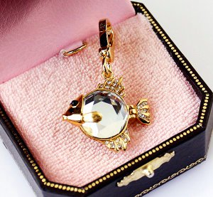 Juicy Couture Pave Crystal Gold Fish Charm Pendant