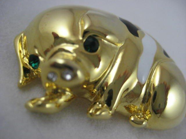 CUTE ENAMEL & GOLD PIG PIN EMERALD EYES
