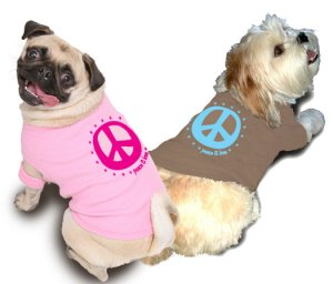Ruff Ruff and Meow doggie tee-Peace and Love