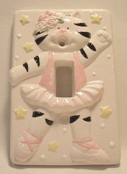 Ceramic Switchplate Ballerina Kitten